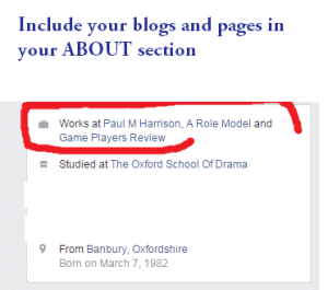 facebook profile about section