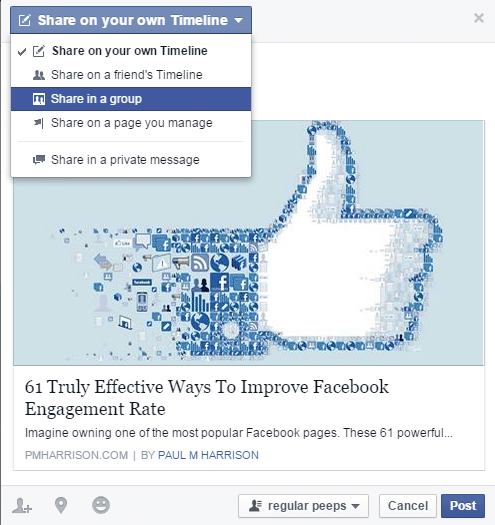 sharing facebook posts with groups