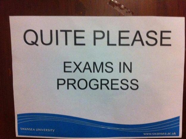 Exam in progress sign